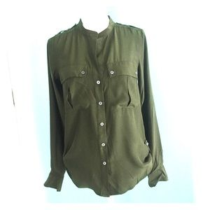 Elizabeth and James Army Green Silk Top